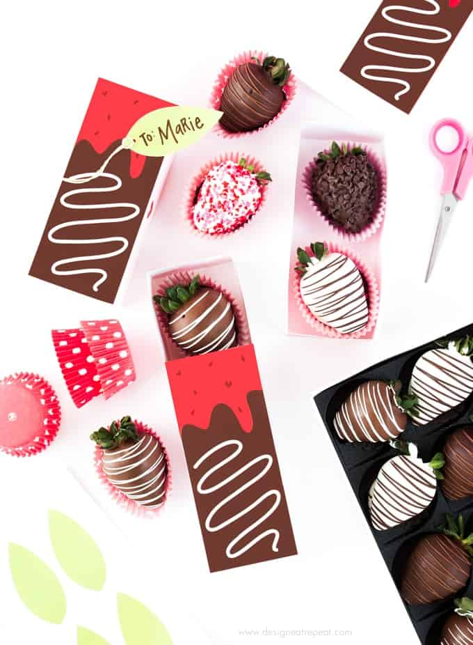 Free Printable Chocolate Covered Strawberry Valentine's Day Gift Boxes!
