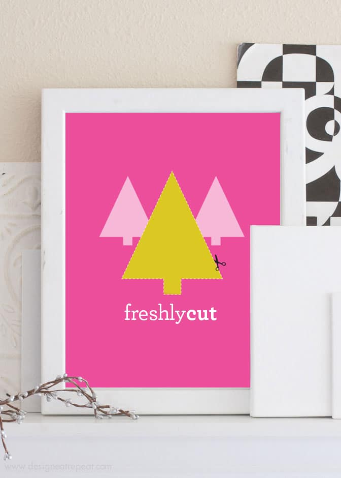 "Free Printable Christmas Art - A fun ""freshly cut"" Christmas tree"