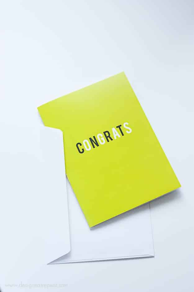 Yellow 5x7 FREE Printable Graduation Card with envelope