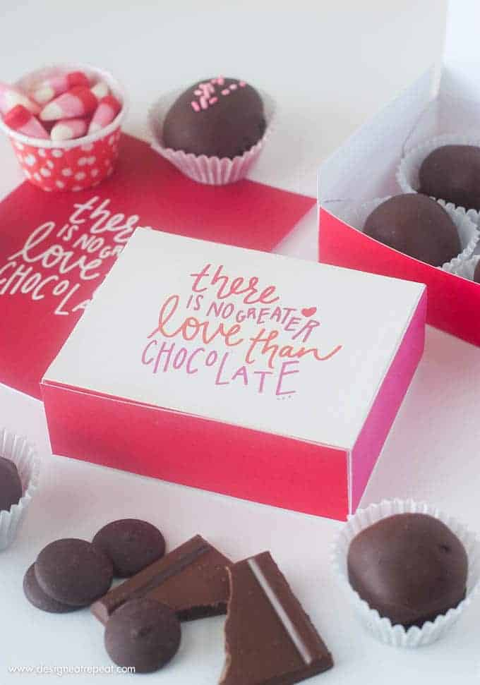 "Free Printable Chocolate Gift Box with phrase ""there is no greater love than chocolate""."