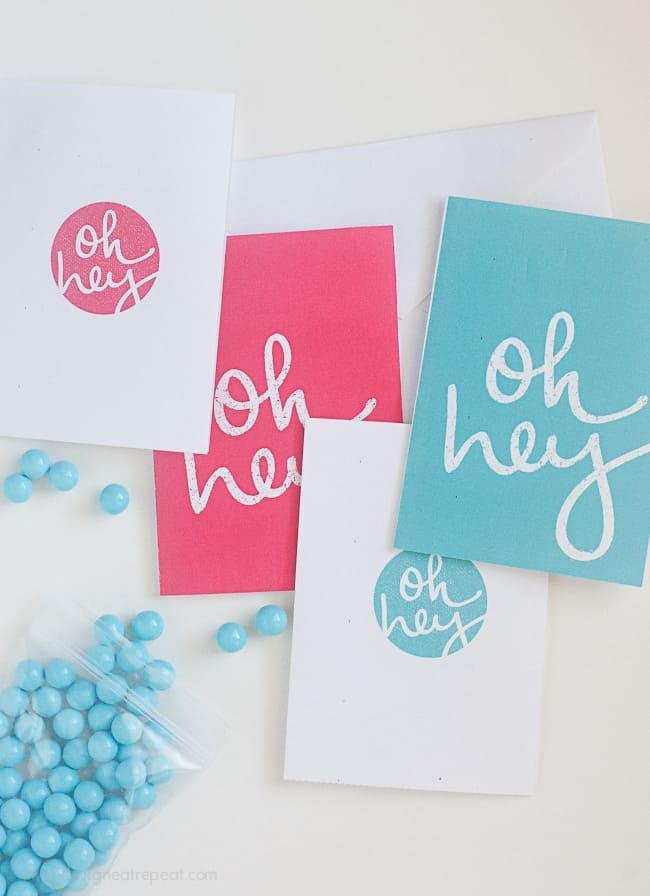 Free Printable Note Cards 'Oh Hey'