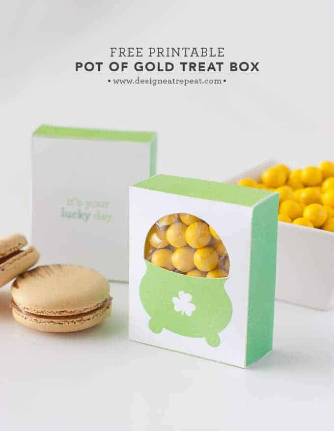 Free Printable Pot of Gold Treat Box | Design Eat Repeat