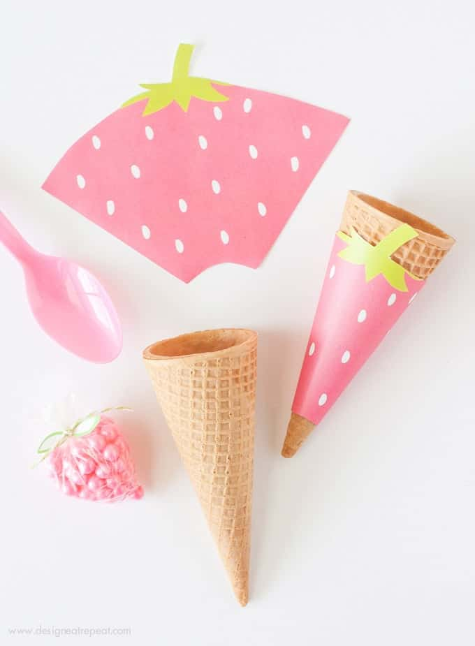photograph about Ice Cream Cone Template Free Printable identify Strawberry Printable Ice Product Cone Wrappers