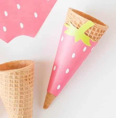 Strawberry Printable Ice Cream Cone Wrappers