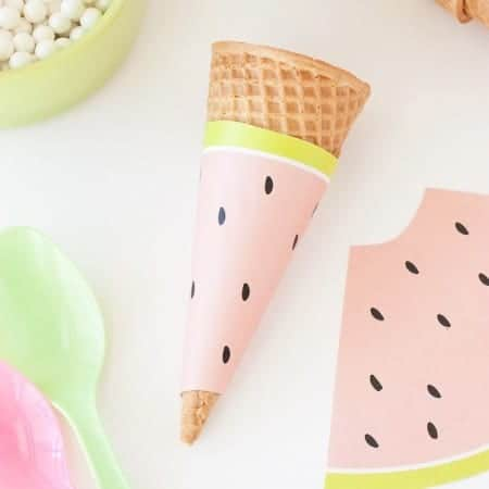 Free Printable Watermelon Icecream Cone Wrapper