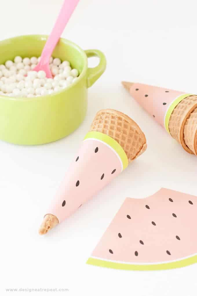 Free Printable Watermelon Icecream Cone Wrappers - Perfect for summer or fruit-themed parties! Download at Design Eat Repeat