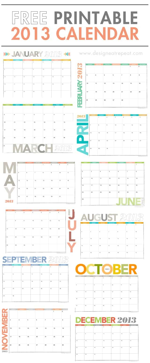 Free Cute Printable Calendars 2013