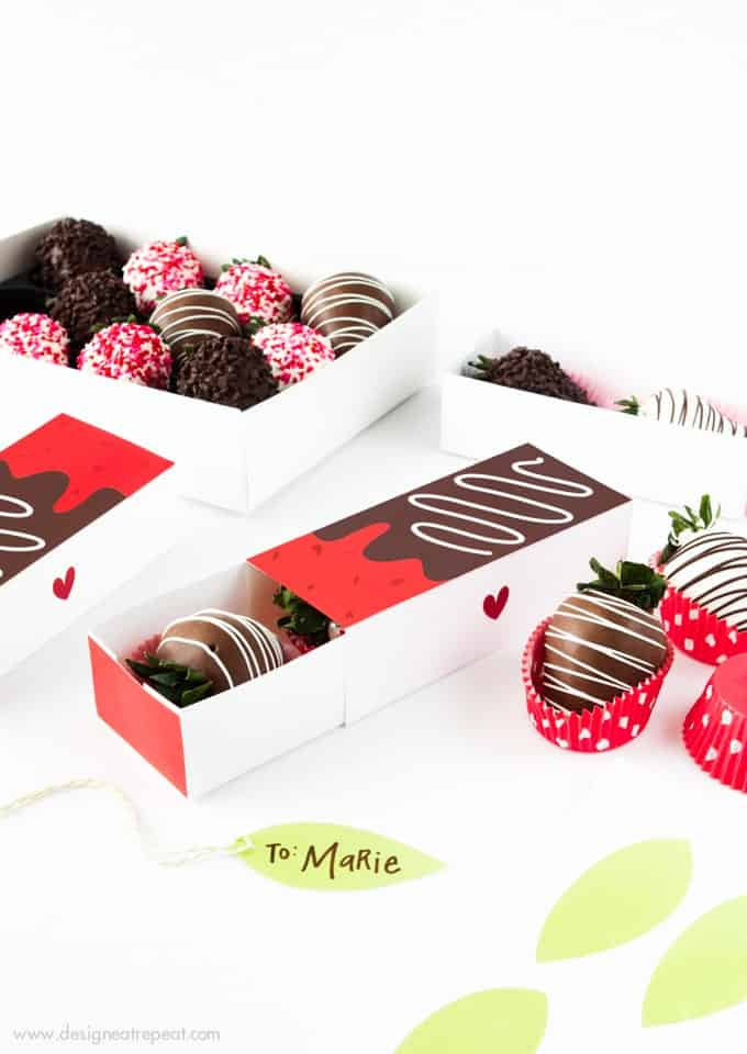 Gift berries in style with these free Printable Chocolate Covered Strawberry Valentine's Day Gift Boxes!