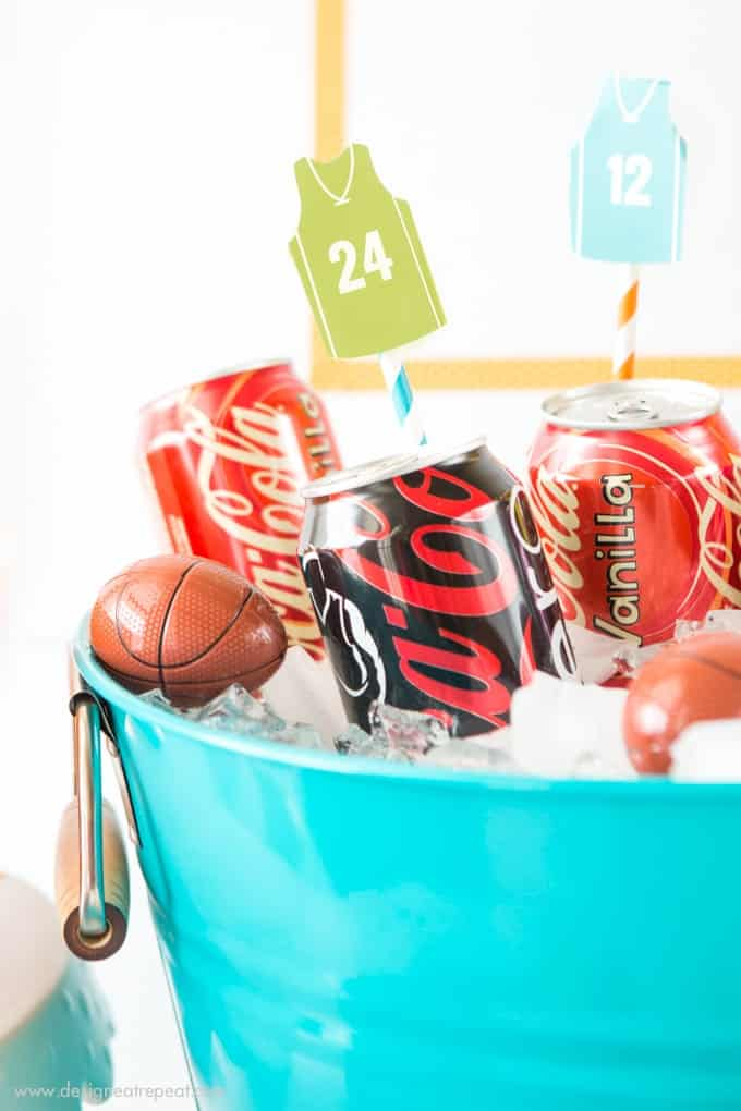 How to put together a easy basketball party snack table + free basketball jersey printable drink toppers!
