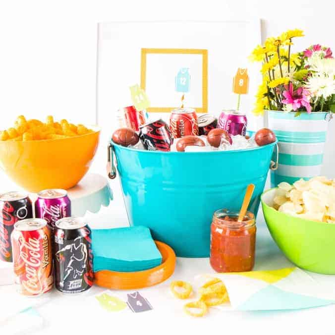 How to put together a easy basketball party snack table + free basketball party printable drink toppers!!
