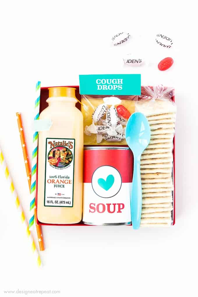 I never knew how to help a sick friend who had the flu and now I can! I put together this DIY Emergency Vitamin C kit filled with Natalie's Orange Juice, Soup, Crackers, and cough drops and dropped it by their house as a small feel-better treat!