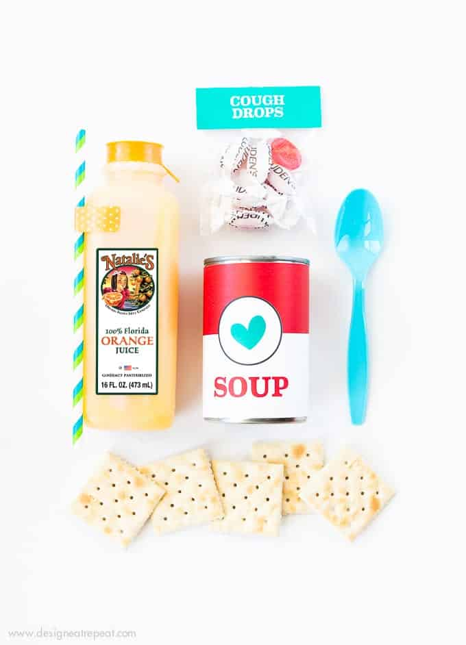 I never knew how to help a sick friend who had the flu and now I can! I put together this DIY Emergency Vitamin C kit filled with Natalie's Orange Juice, Soup, Crackers, and cough drops and dropped it by their house as a small treat!