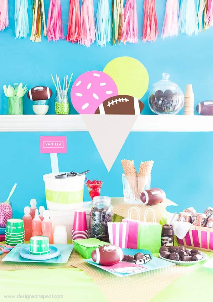 I wanted to set up a non-traditional football ice cream party, so I set out to create this colorful tablescape! No team colors, just girly decorations to make game day fun for the whole crew!