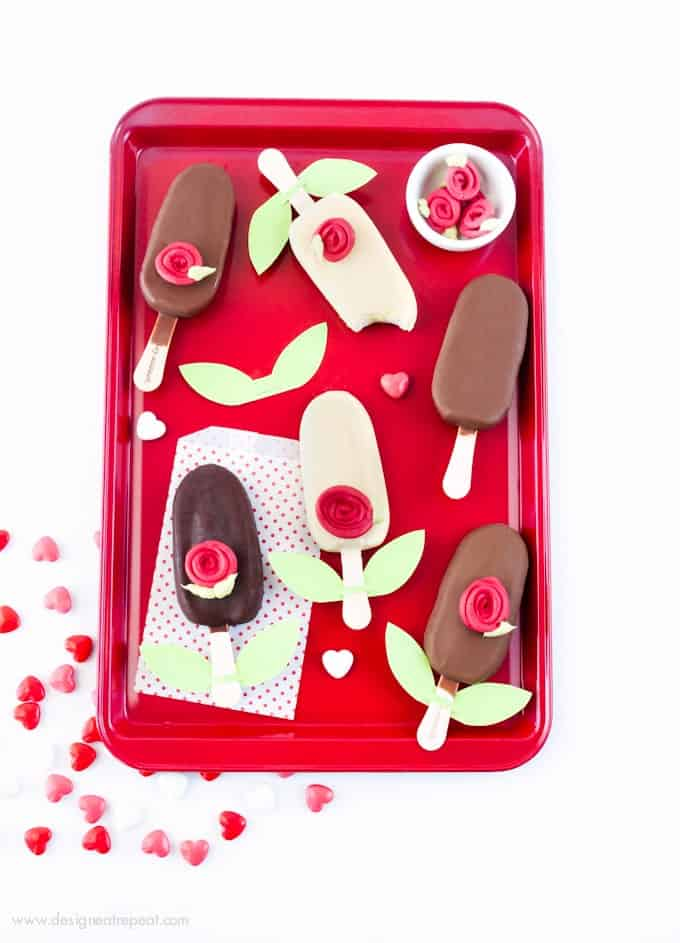 Ice Cream Bar + Almond Bark Rose = Easy Valentine's Day treat idea! Find the tutorial at Design Eat Repeat!