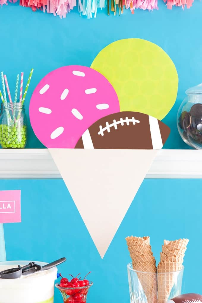 Learn how to make these Ice Cream Football Party Decorations using wrapping paper and matte board!