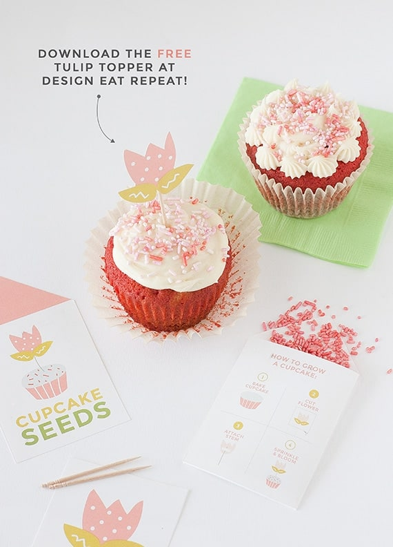 "Learn ""How to Grow A Cupcake"" with these free springtime printables by Design Eat Repeat! Includes the instructions on how to create these ""Cupcake Seed"" packets, that include a tulip topper and sprinkles! Fun idea for a party activity or party favor!"