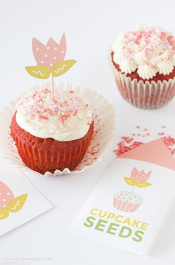 "Learn ""How to Grow A Cupcake"" with these free springtime printables by Design Eat Repeat! Includes the instructions on how to create these ""Cupcake Seed"" packets, that include a tulip topper & sprinkles! Great idea for a party activity or party favor!"