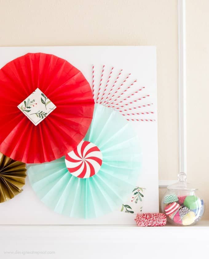 Learn how to make DIY Tissue Paper fans to create photobooth backdrops or holiday fireplace decor! Tutorial by Design Eat Repeat blog!
