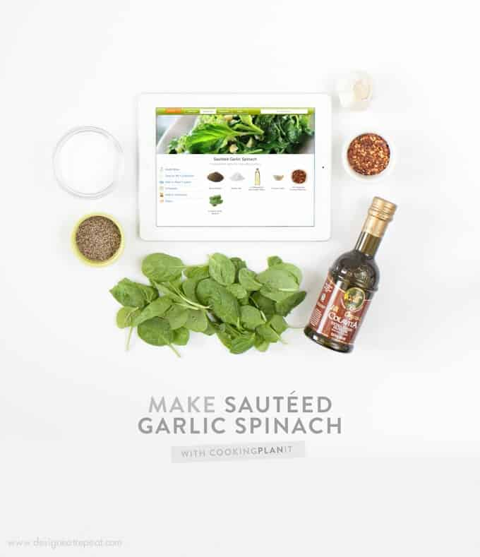Learn how to make Garlic Sauteed Spinach with the CookingPlanIt App! It walks you through each step and teaches you how to cook like a pro! One of my new favorite apps - Love it!