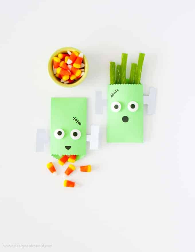 Learn how to make these (super easy!) DIY Monster Halloween Treat Bags over at Design Eat Repeat Blog