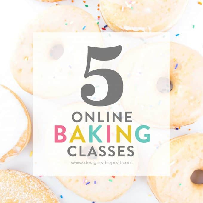 Learn new baking skills without having to leave your couch! This is a fun list of online baking classes (ahem...donuts, macarons, cake pops!) by food & baking blogger Melissa at Design Eat Repeat!