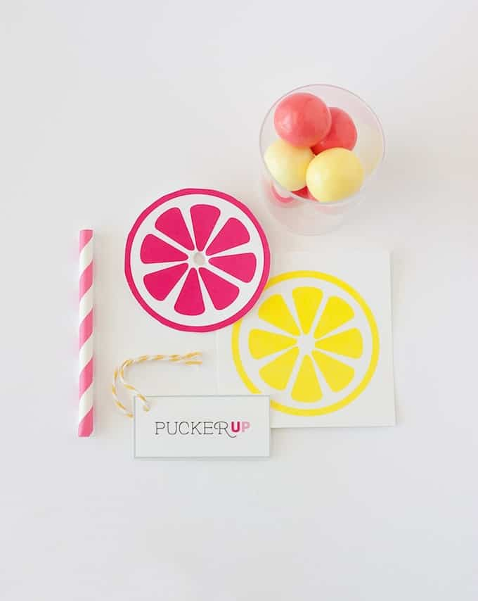 Lemonade Party Favors pink and yellow with gumballs and printable pucker up tag