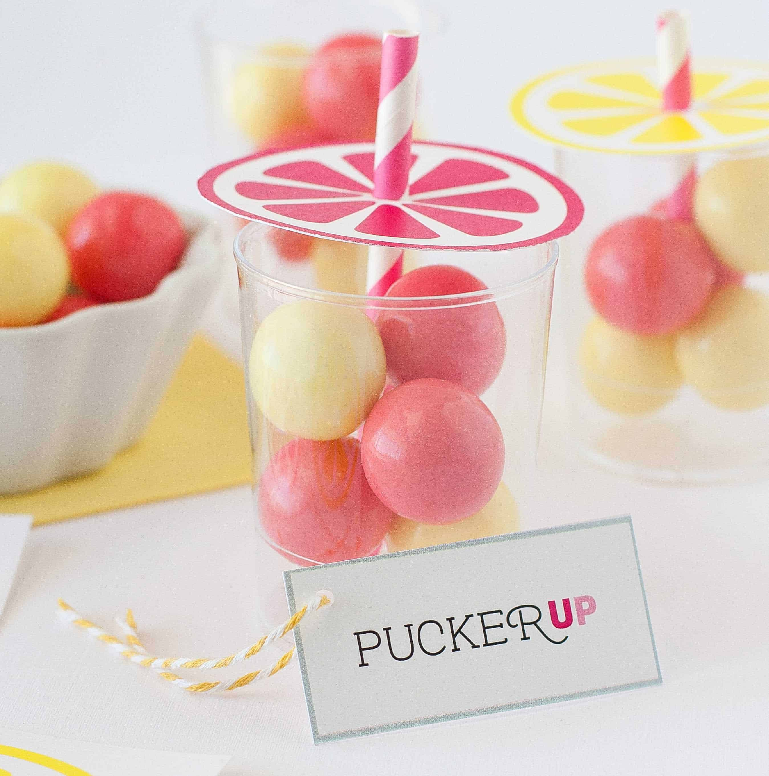 Candy Gumball Lemonade Party Favors - Design Eat Repeat