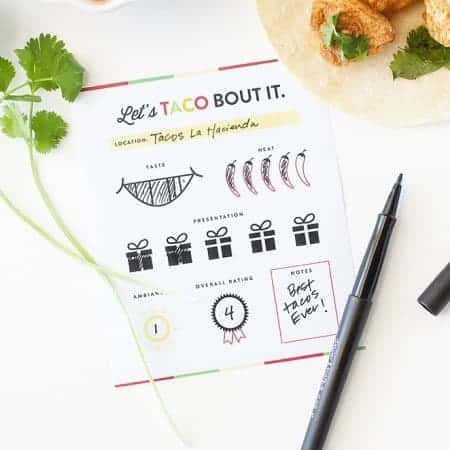Love tacos? These free printable score cards are the perfect accompaniment to any taco tour! Rate each restaurant and keep track of your favorites! Download at Design Eat Repeat Blog!