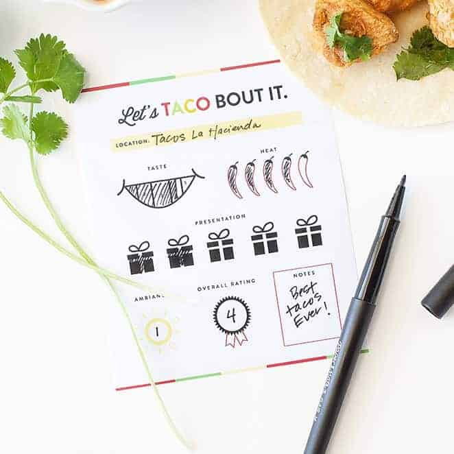 Free Taco Tour Printable Scorecards