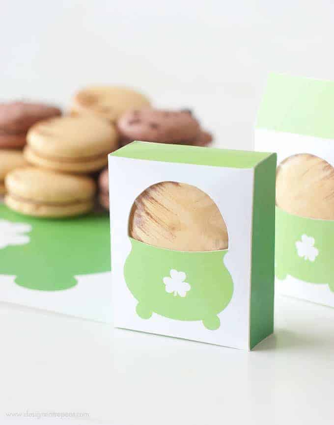 Love this! Print off these free boxes at Design Eat Repeat and pop in a caramel macaron for a fun St. Patrick's Day treat!