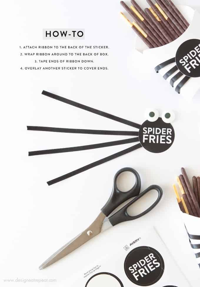 Make these DIY Spider Fry Boxes with paper fry boxes, pocky sticks, and free printable sticker labels! Designed by Melissa at @DesignEatRepeat blog! So fun!