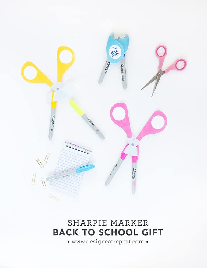 Make these DIY Teacher Gifts using Sharpie markers and this free scissors printable! So fun!