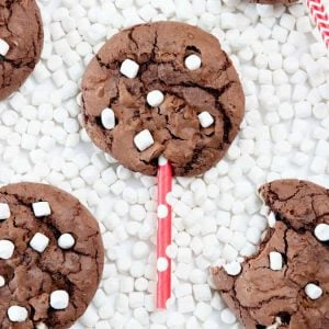 Make these Hot Chocolate Brownie Cookie Pops using a boxed brownie mix & one cup of chocolate cake mix! The cake mix makes them thick, while still keeping a chewy, chocolately texture! Fun way to use those mini marshallows! Love this idea!