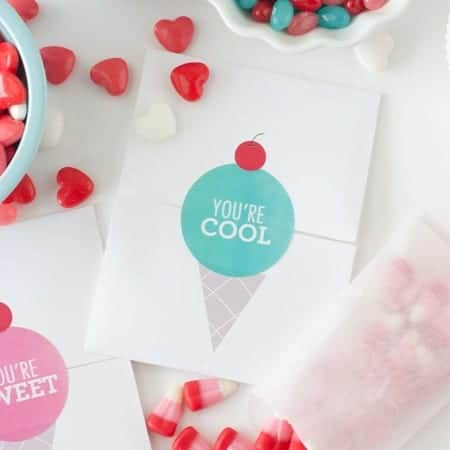 Make your own Valentines with these free icecream printables from Design Eat Repeat