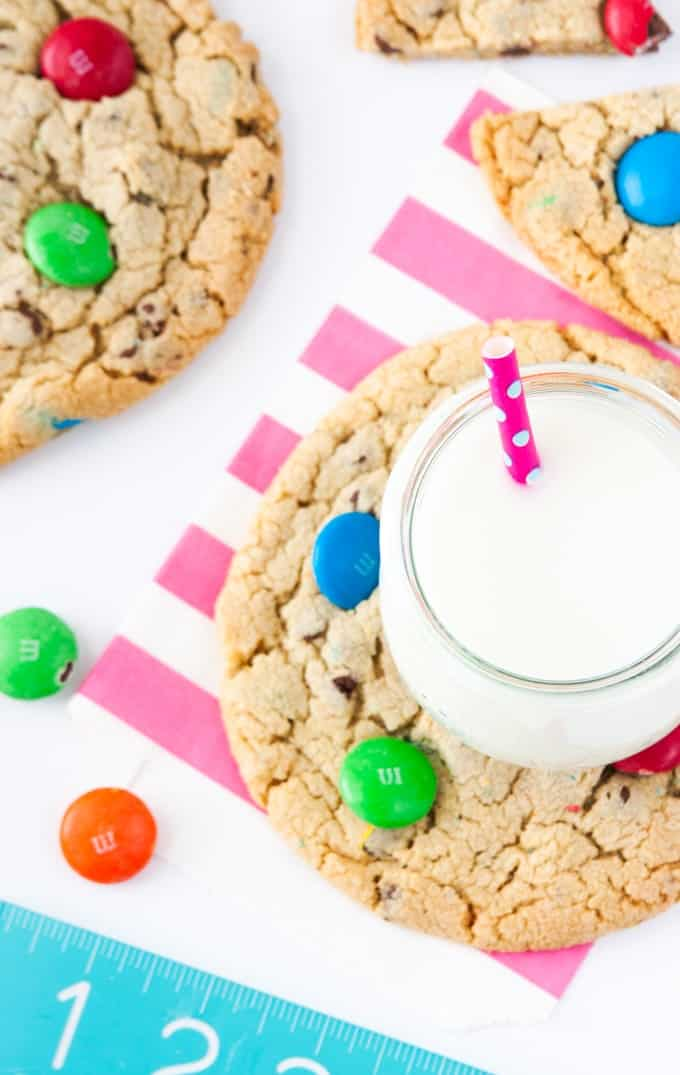 Mega Sized M&M Cookies by Design Eat Repeat