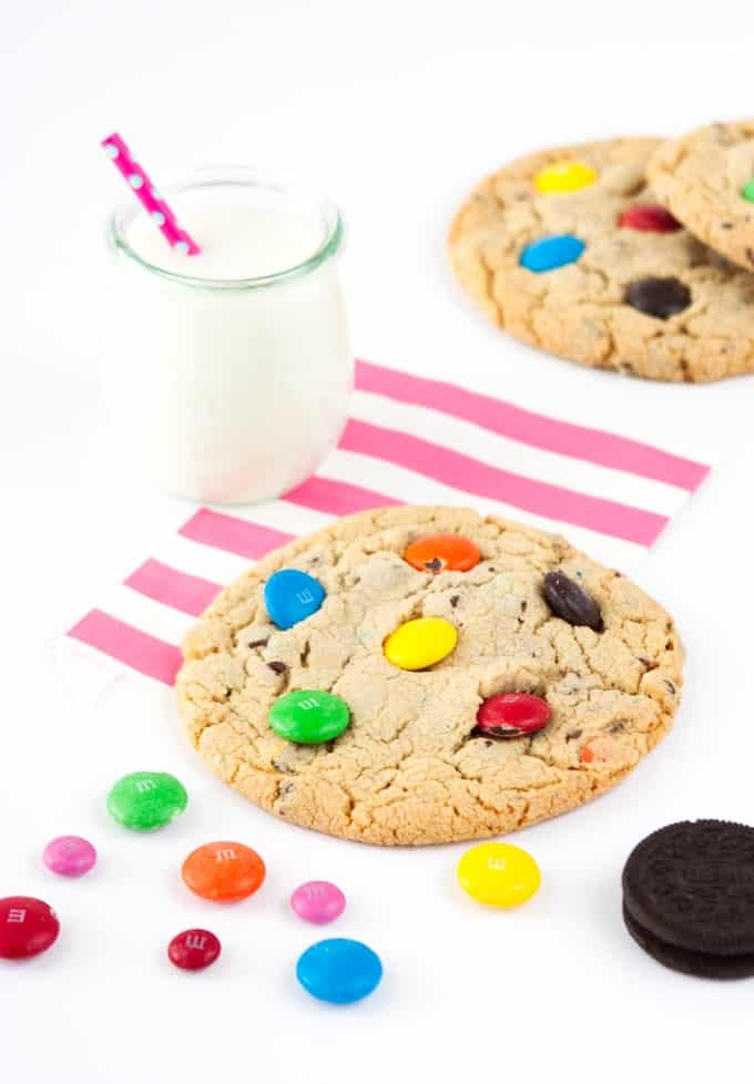 Mega Sized M&M Cookies