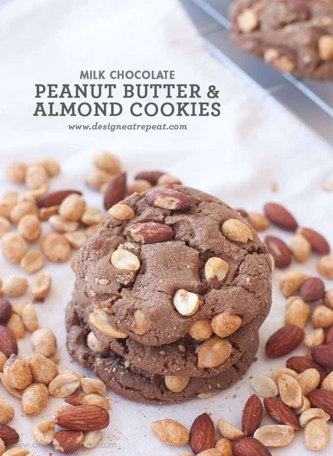 Stack of Milk Chocolate Peanut Butter & Almond Cookies