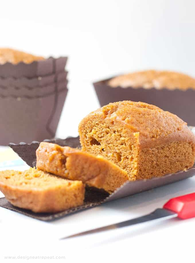Sliced moist pumpkin bread mini loaf pan recipe