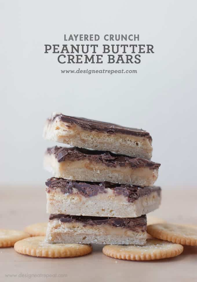 Peanut Butter Creme Shortbread Layered Crunch Bars || Design Eat Repeat