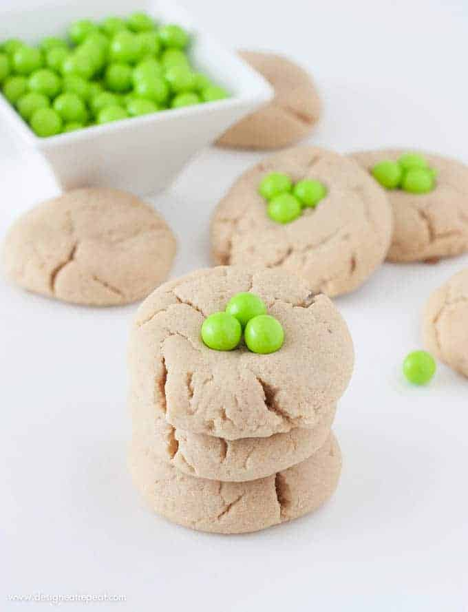 Peanut Butter Shamrock Cookies | So easy to add a pop of St. Patrick's Day with green Sixlets!