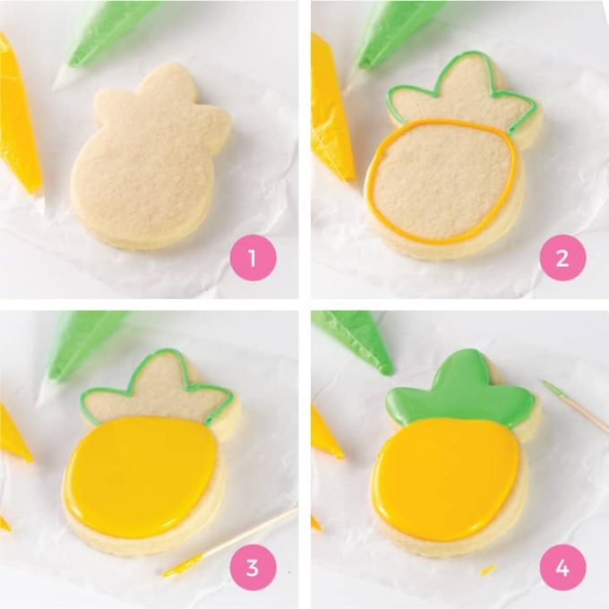 How to outline and flood pineapple sugar cookie with royal icing