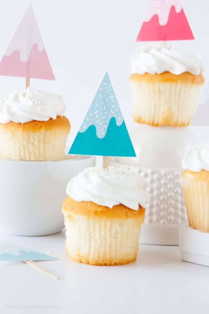 Print off these free Sprinkle covered trees for a cute holiday cupcake topper!
