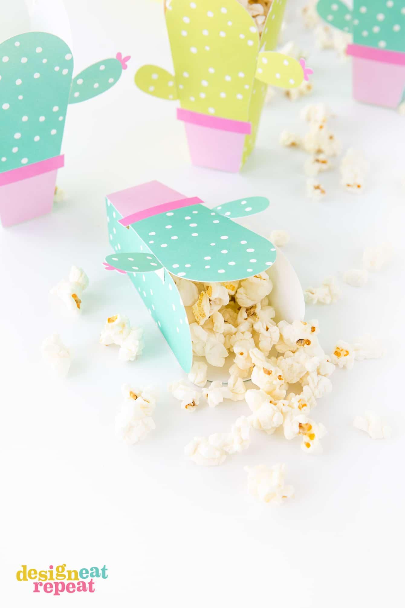 Printable Cactus Popcorn Box Template