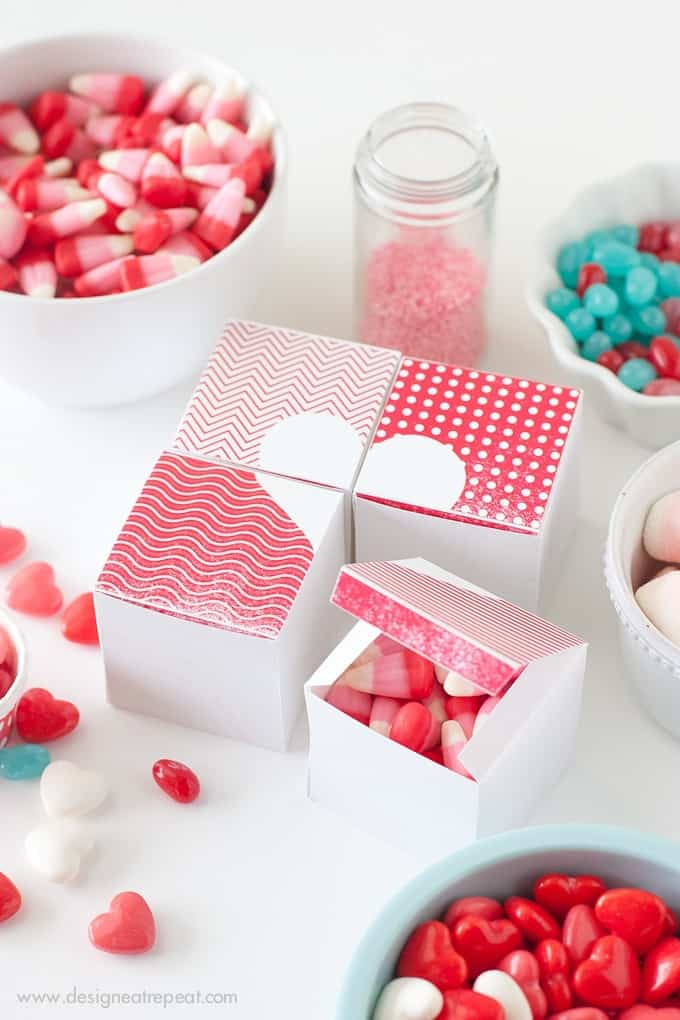 Printable Valentine Heart Treat Boxes by Design Eat Repeat Blog