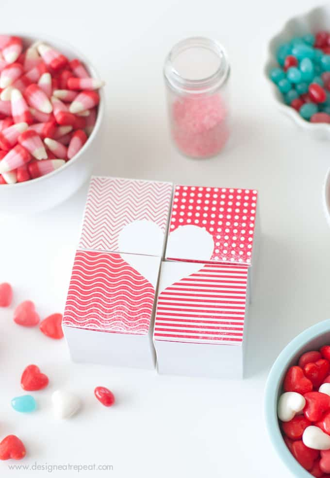 Printable Valentine Heart Treat Boxes from Design Eat Repeat