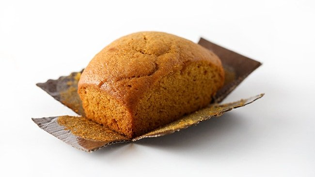 Moist pumpkin bread mini loaf pan recipe in corrugated brown mini tin