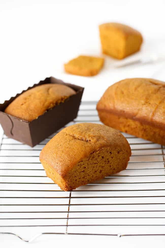 Moist pumpkin bread mini loaf pan recipe on cooling rack