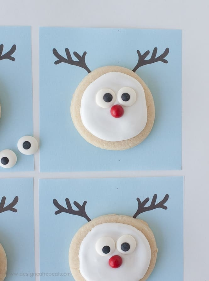 reindeer sugar cookie printable a christmas cookie decorating idea from design eat repeat