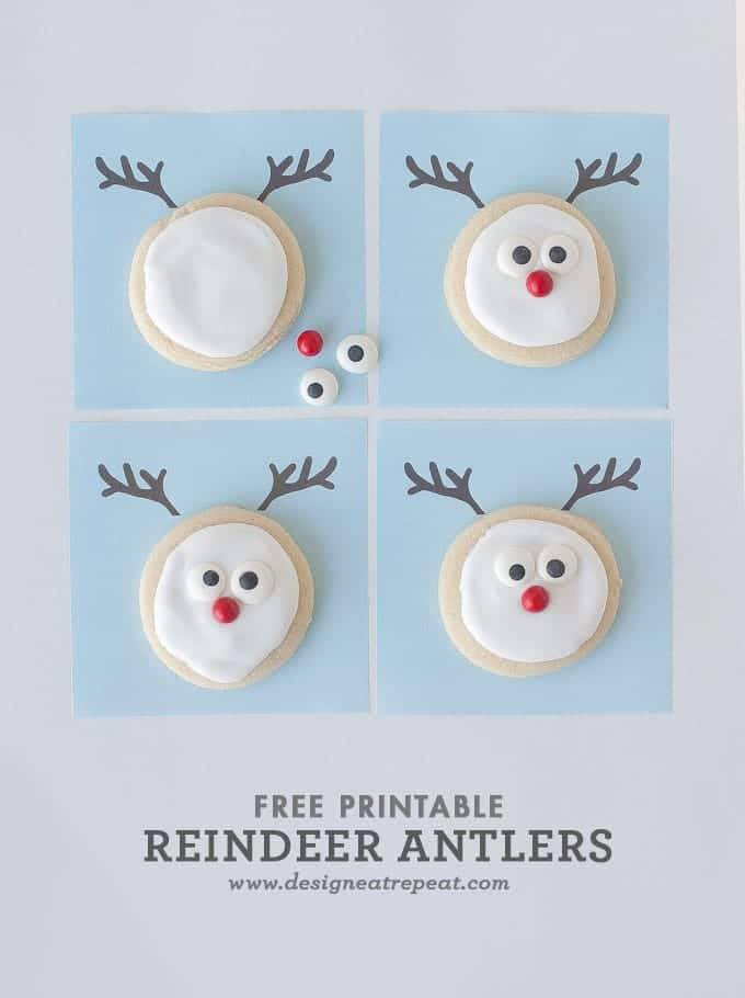 Reindeer Sugar Cookie Printable || A Christmas Cookie Decorating Idea  sc 1 st  Design Eat Repeat & Decorated Reindeer Cookies + A Free Printable!