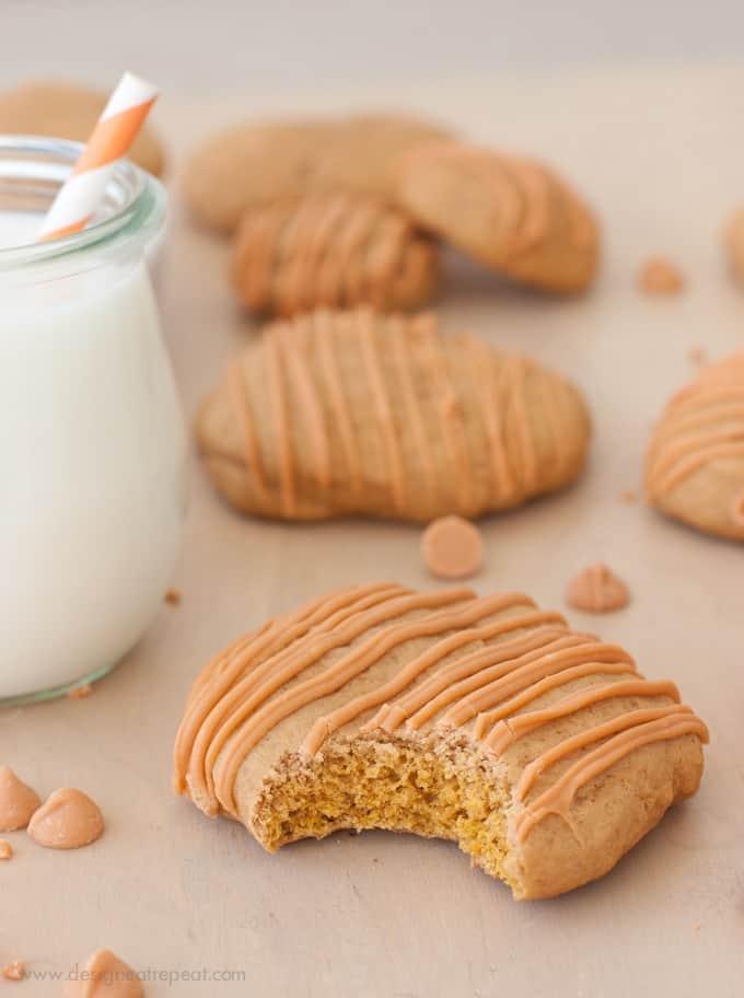 Soft Butterscotch Pumpkin Spice Cookie with bite